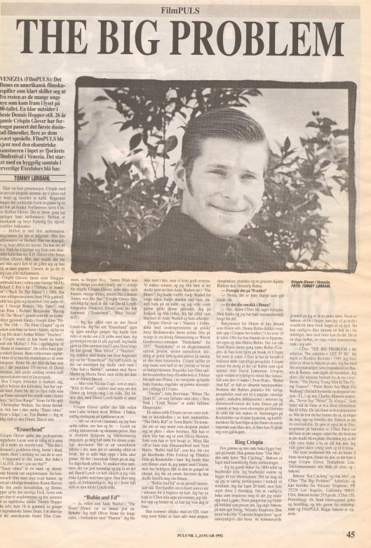 Intervju med Crispin Glover i Puls, januar 1992. (av Tommy Lørdahl)